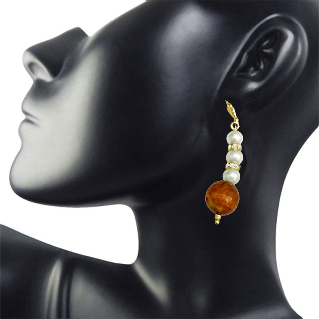 Trendy Tiger Eye & Imitation Shell Pearl hanging Earrings for Women (SE174)