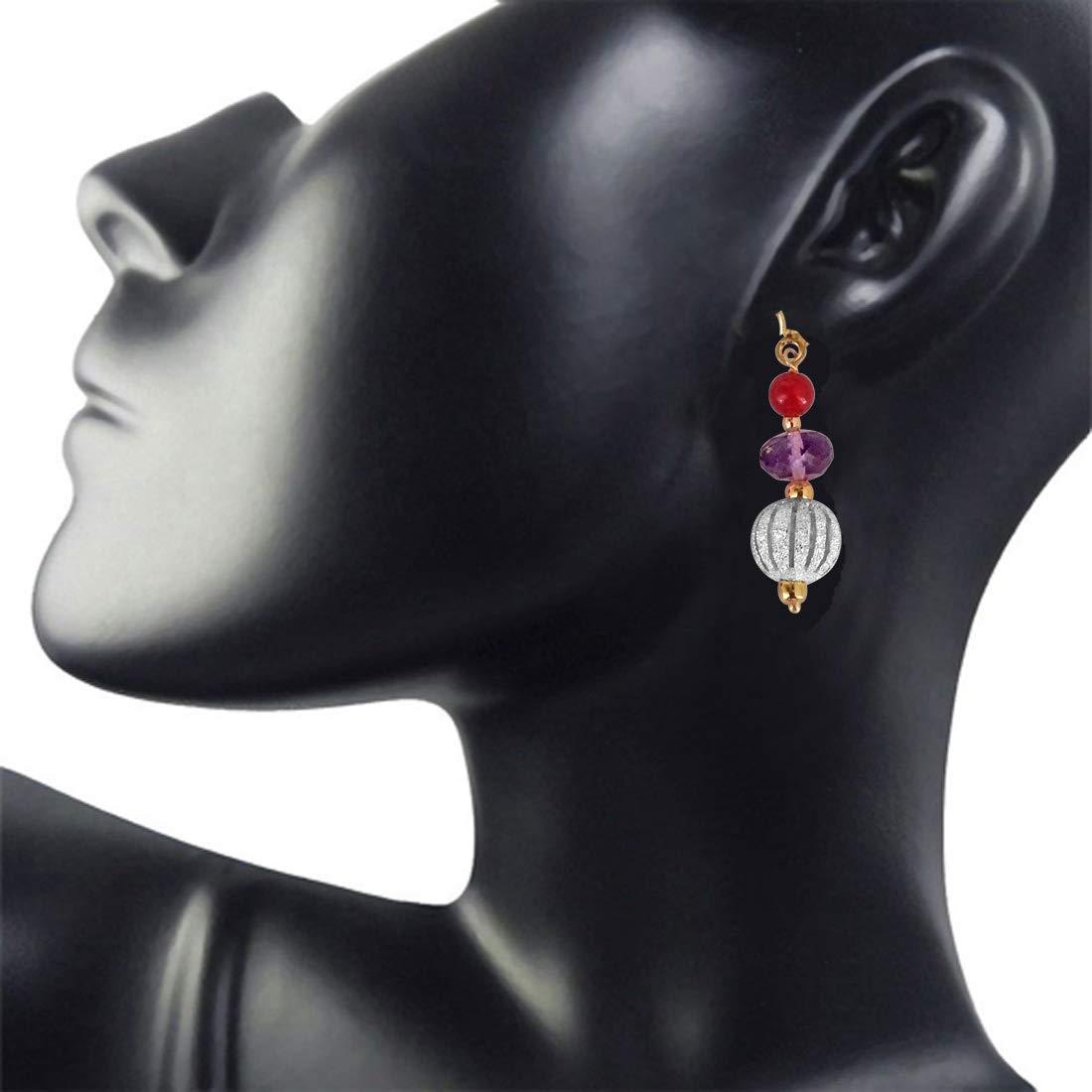 Fancy Purple Amethyst, Silver Plated Ball & Red Beads Earrings (SE178)