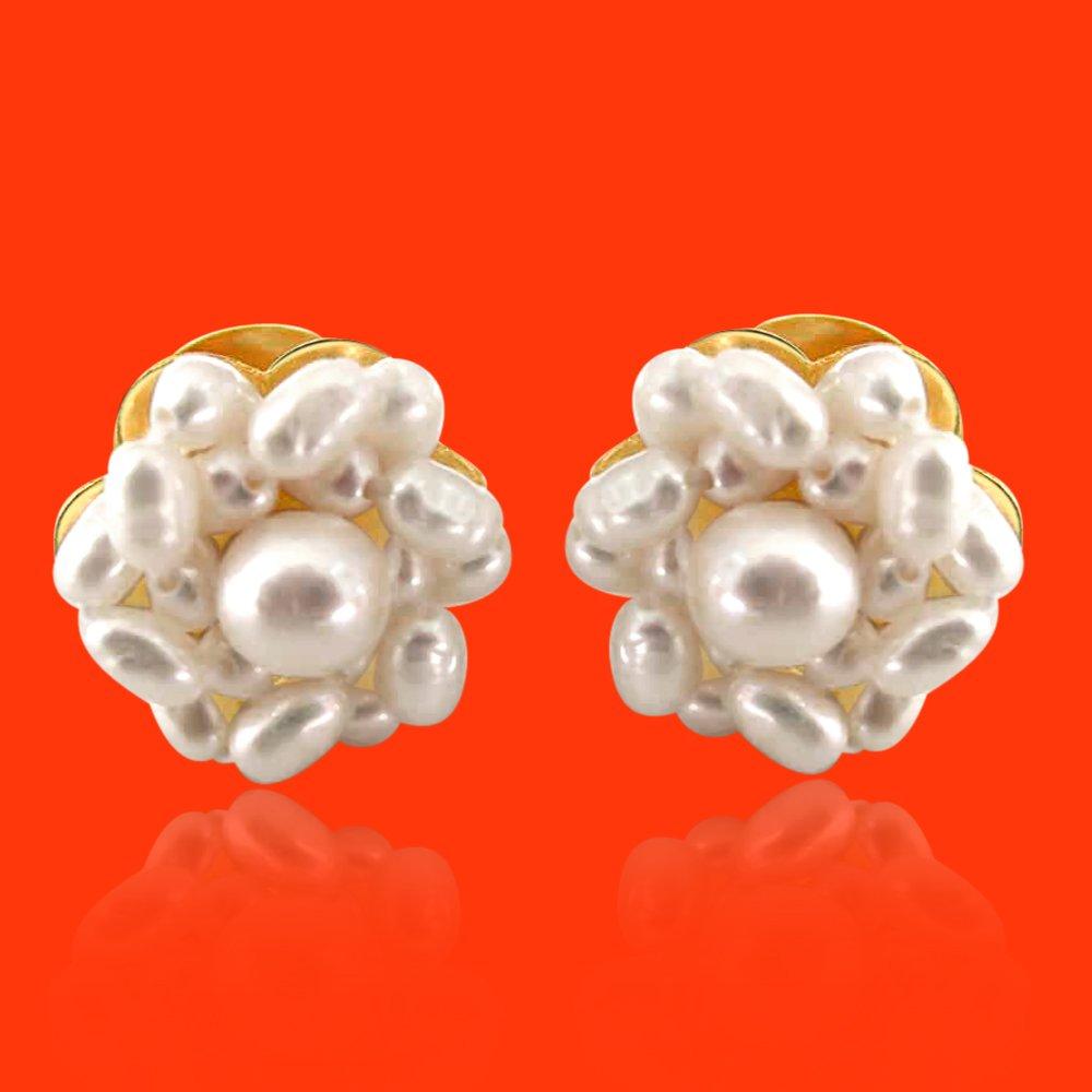 Lustrous Pearl Beauties - Real Rice Pearl Kuda Jodi Earring for Women (SE17)