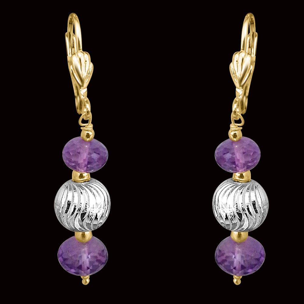 Purple Amethyst & Silver Plated Ball Earrings (SE180)