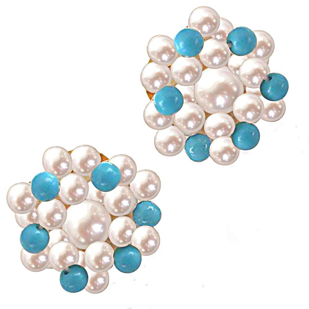 Turquoise Pearl Magic - Real Freshwater Pearl & Turquoise Beads Kuda Jodi Earring for Women (SE18)