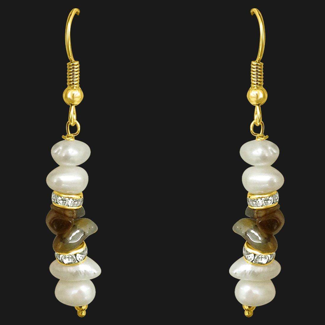 Real Freshwater Pearl & Uncut Tiger Eye Hanging Earrings (SE191)