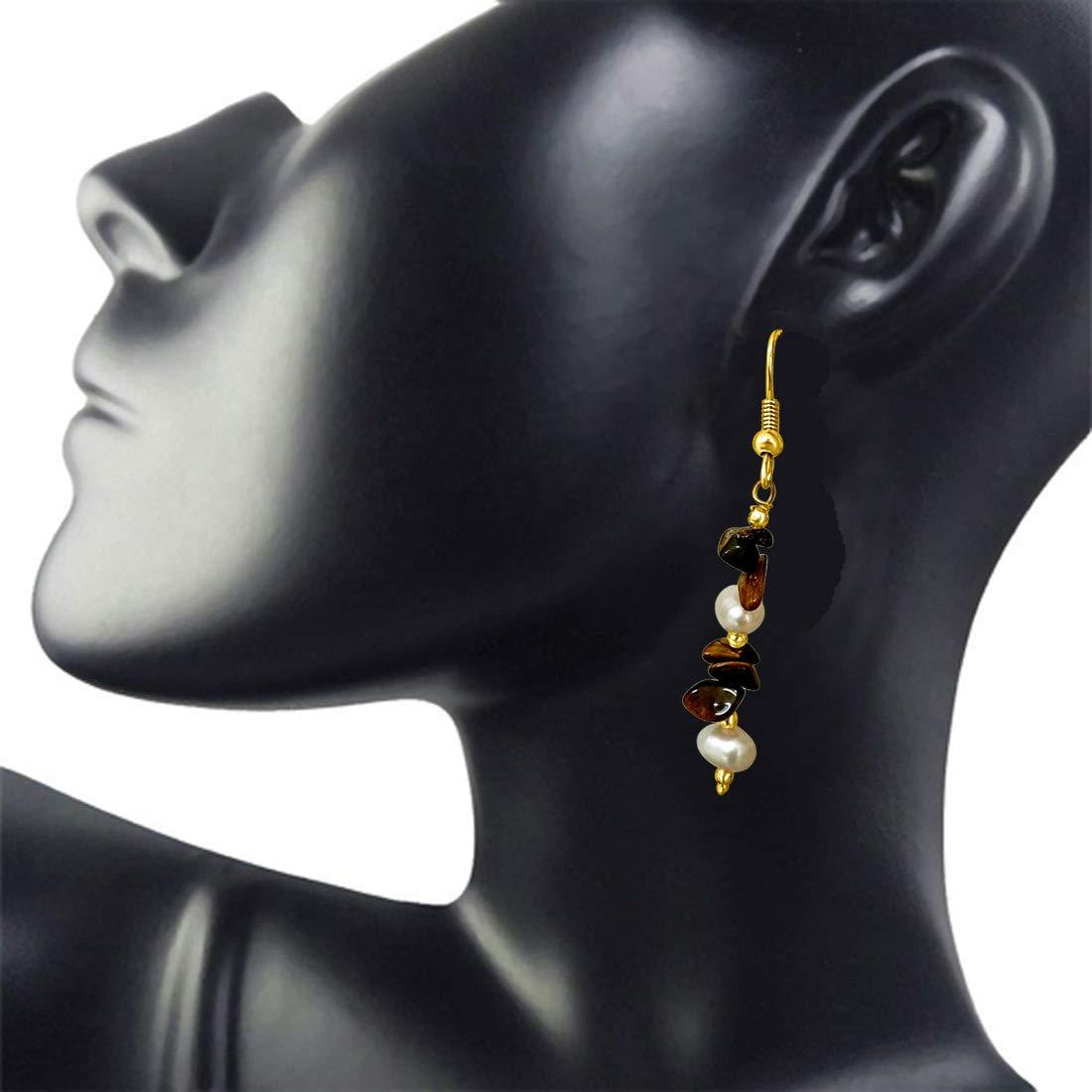 Real Uncut Tiger Eye & Freshwater Pearl Earrings for Women (SE192)