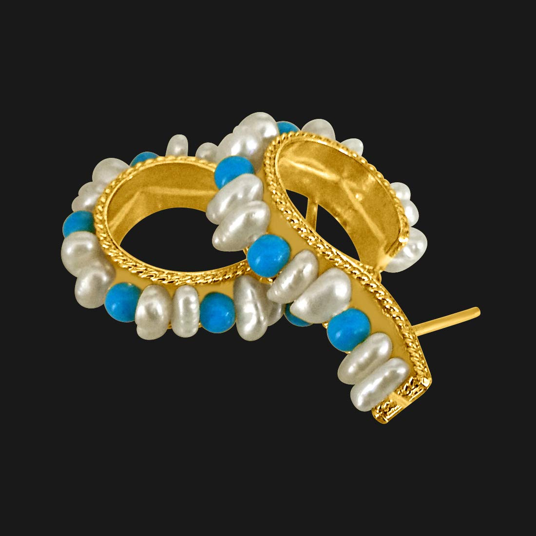 Real Pearl & Turquoise Bali Style Earrings for Women (SE198)
