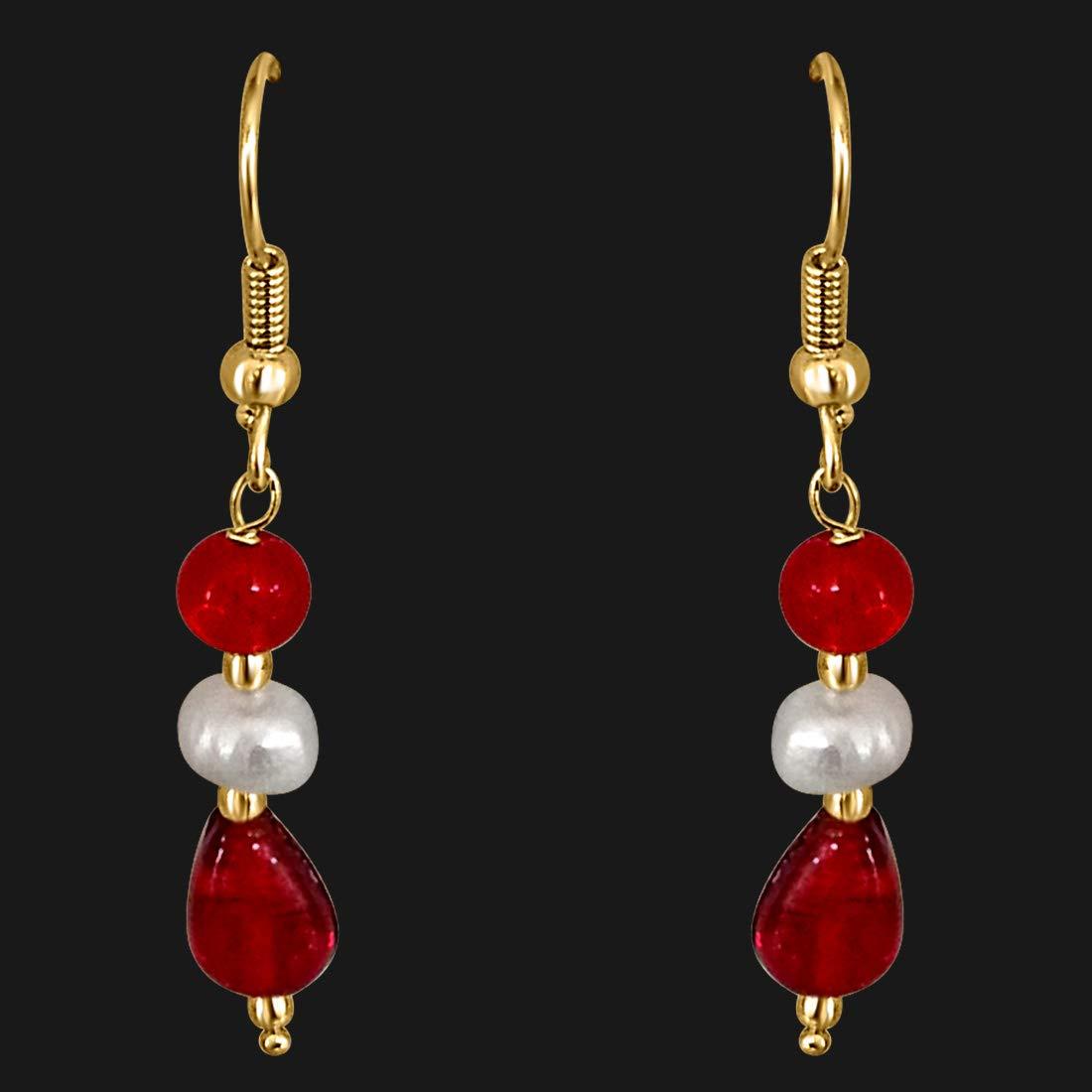 Dangling Pearl & Red Stone Earrings for Women (SE199)