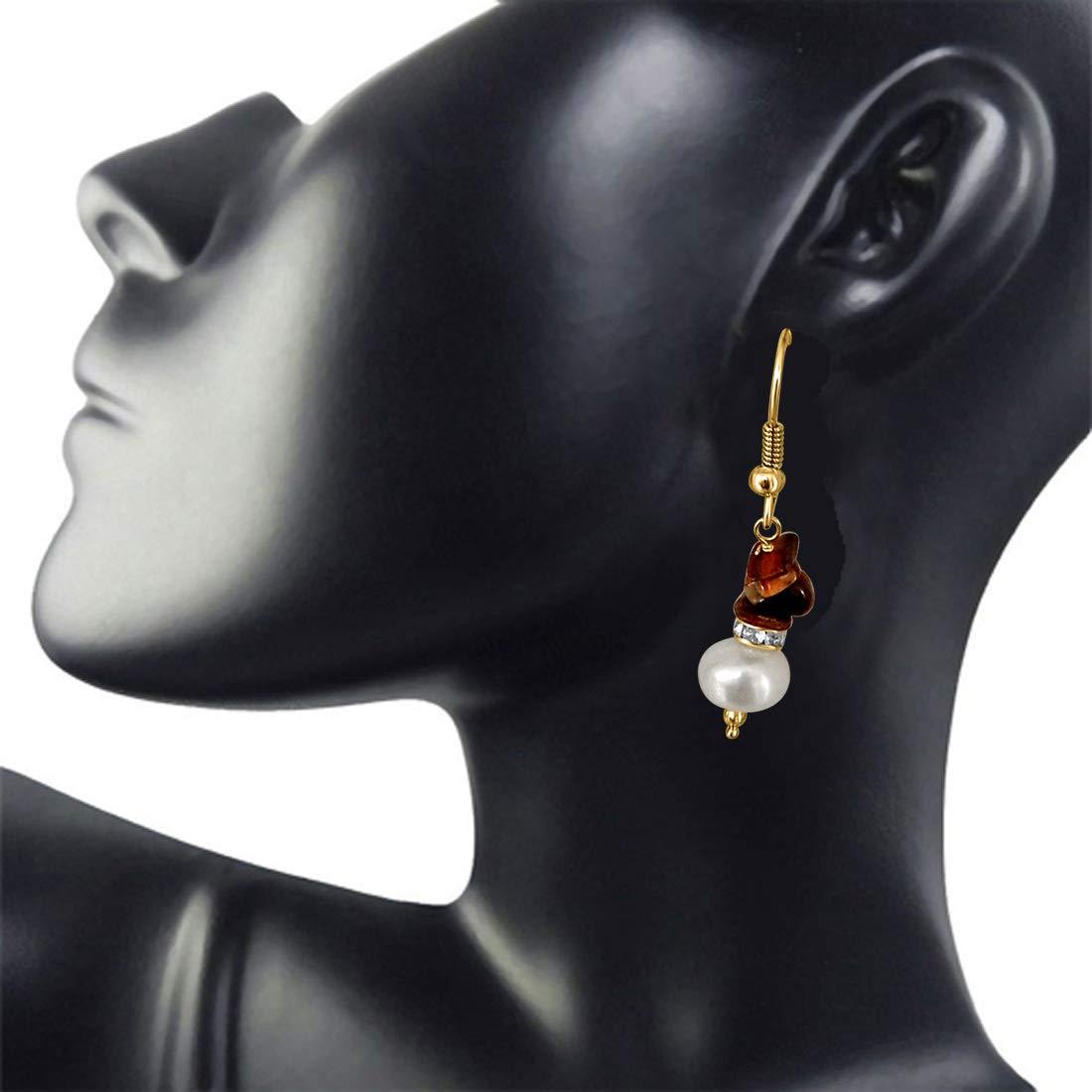 Trendy Pearl & Tiger Eye Earrings for Women (SE201)