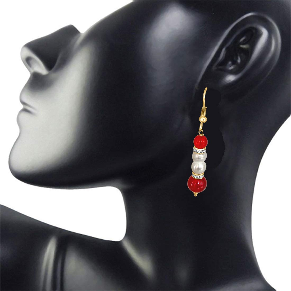 Real Pearl & Red Stone Earrings for Women (SE203)