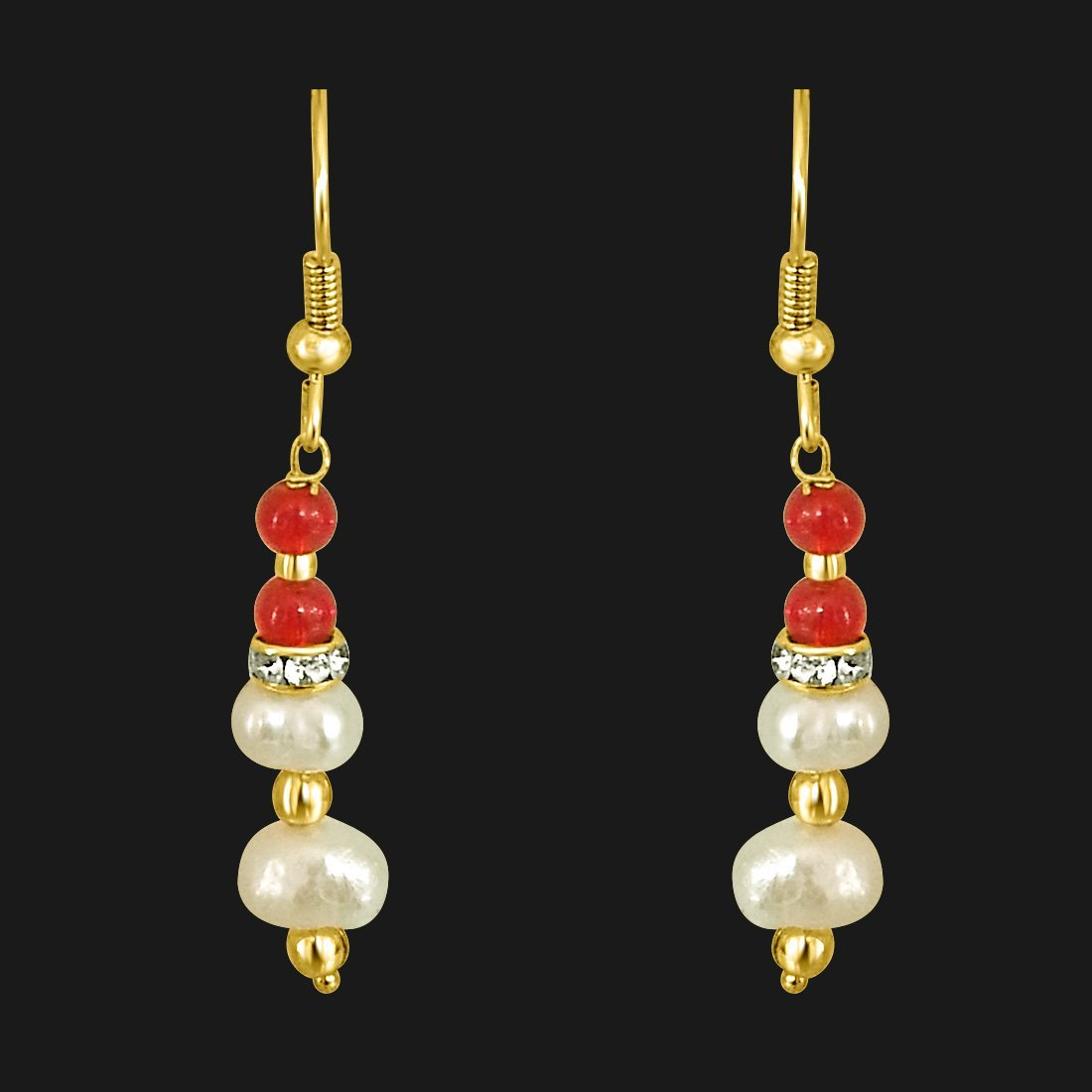 Real Pearl & Red Coloured Stone Hanging Earrings for Women (SE206)