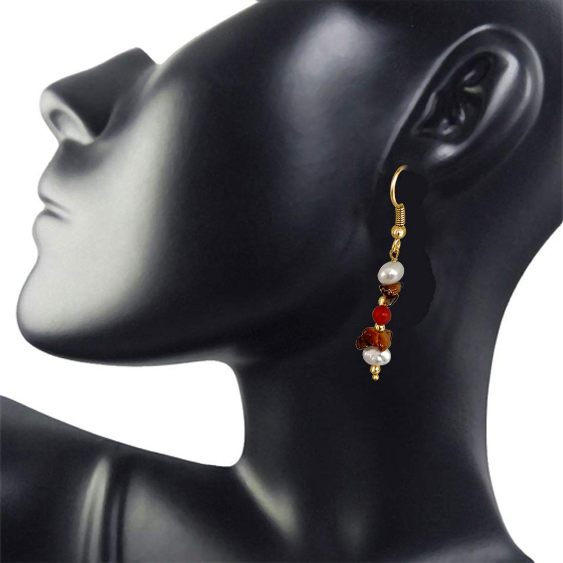 Real Tiger Eye, Coral & Pearl Hanging Earrings for Women (SE207)