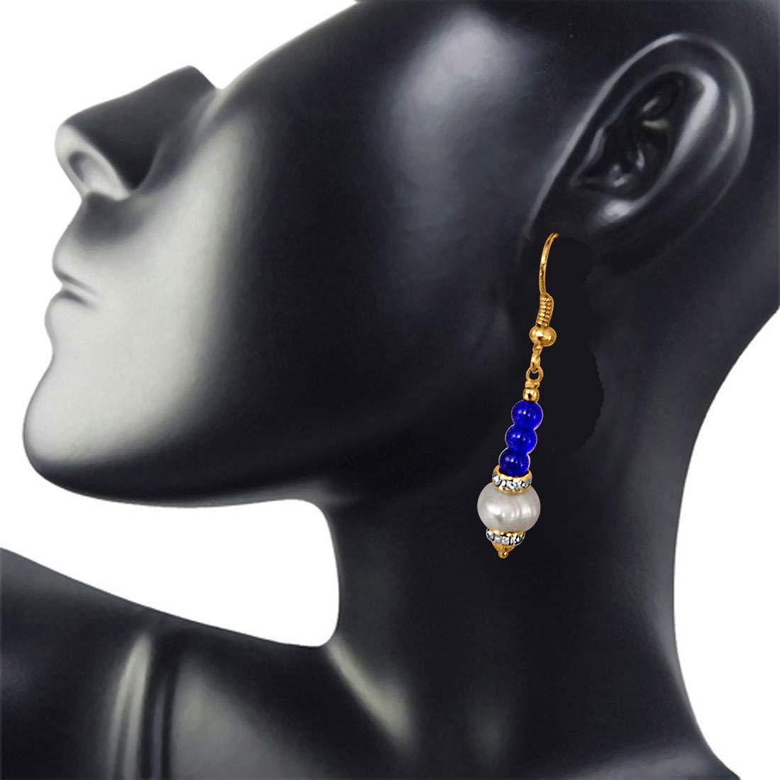 Dangling Real Pearl & Blue Stone Earrings for Women (SE209)
