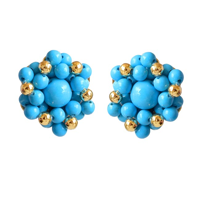 Love Blue Beads - Real Turquoise Beads Kuda Jodi Earrings for Women (SE20)