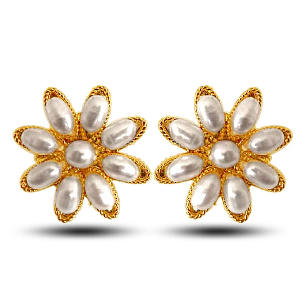 Star Delight - Star shaped Real Rice Pearl & Gold Plated Earrings for Women (SE21)