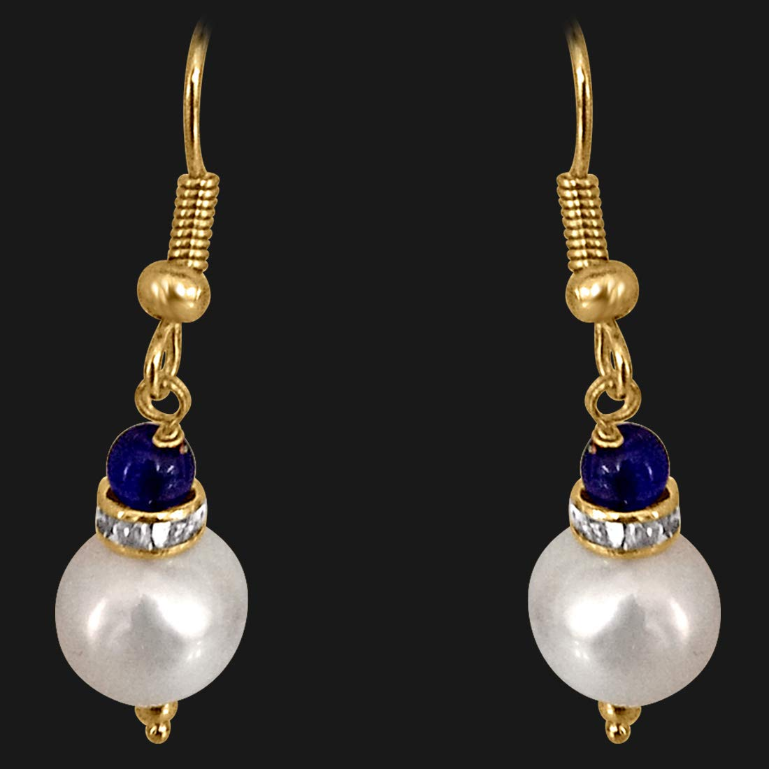 Real Big Pearl & Blue Stone Earrings (SE213)