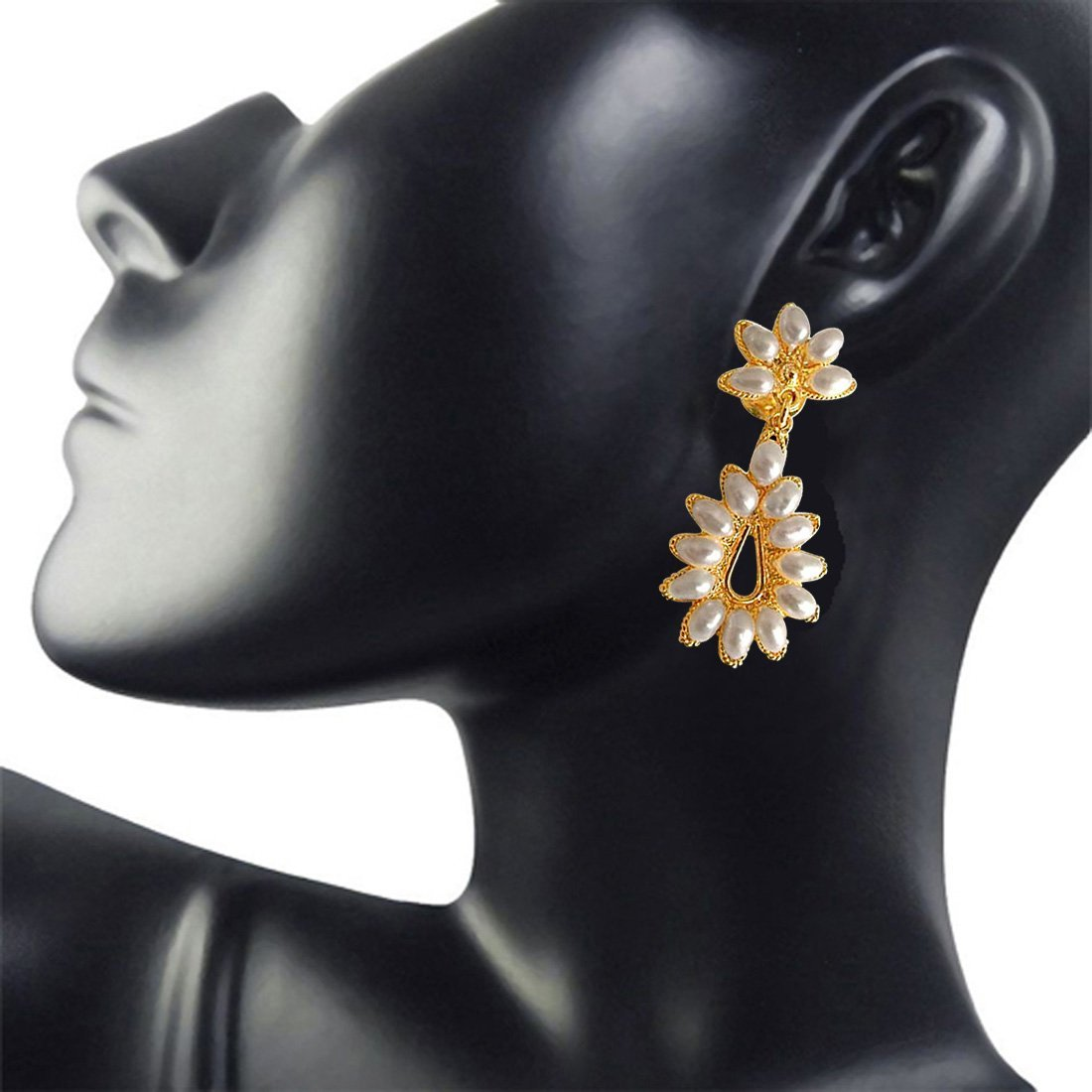 Flower Bloom - Flower Shaped Real Rice Pearl & Gold Plated Hanging Earrings for Women (SE22)