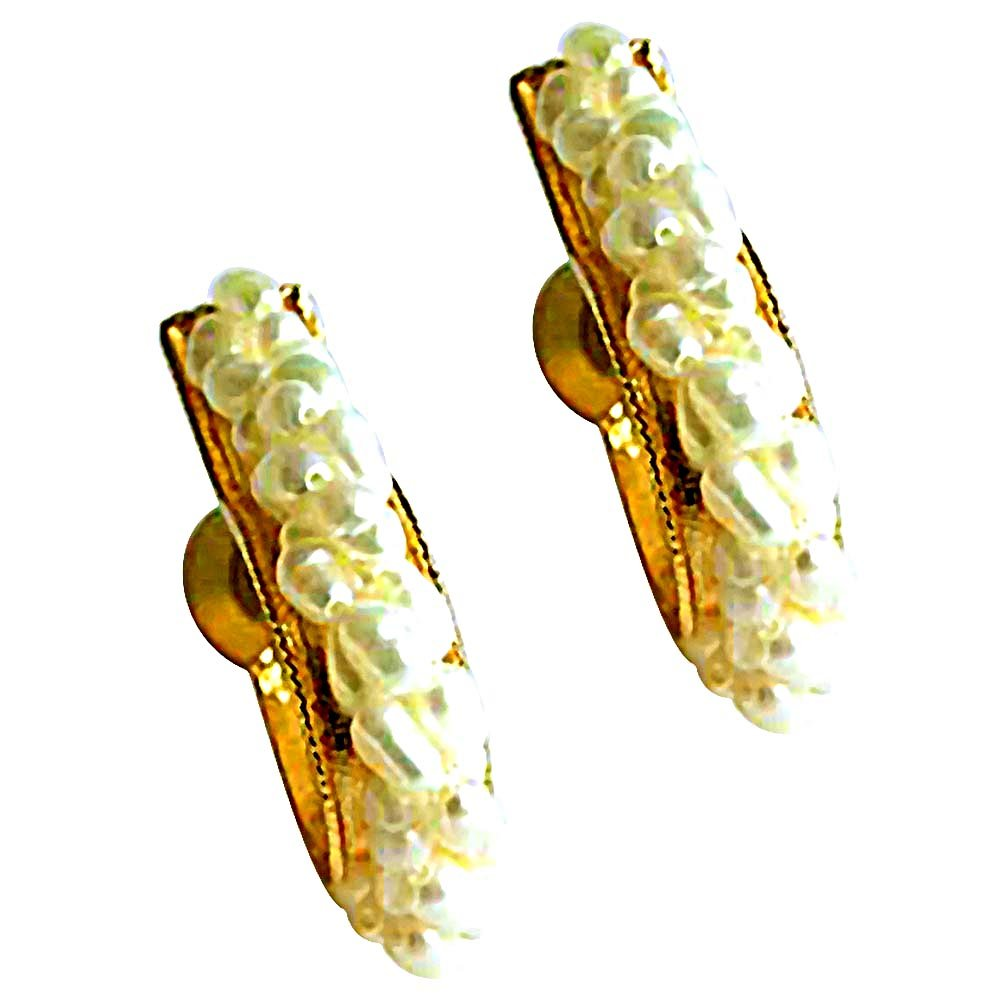 Bejeweling Pearl Balis - Real Rice Pearl Twisted Bali Style Earrings for Women (SE23)