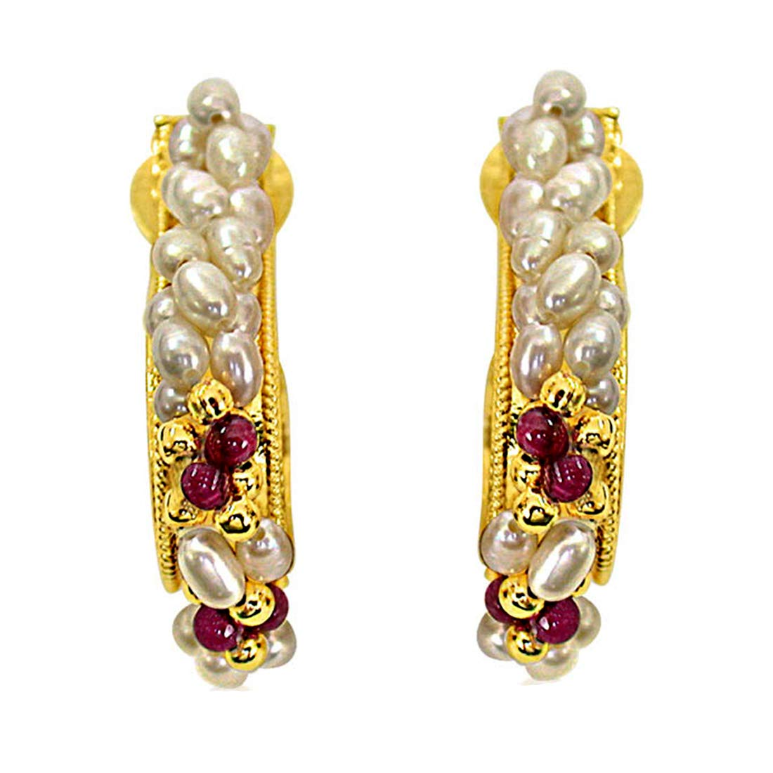 I Like You - Real Rice Pearl & Red Garnet Twisted Bali Style Earrings for Women (SE25)