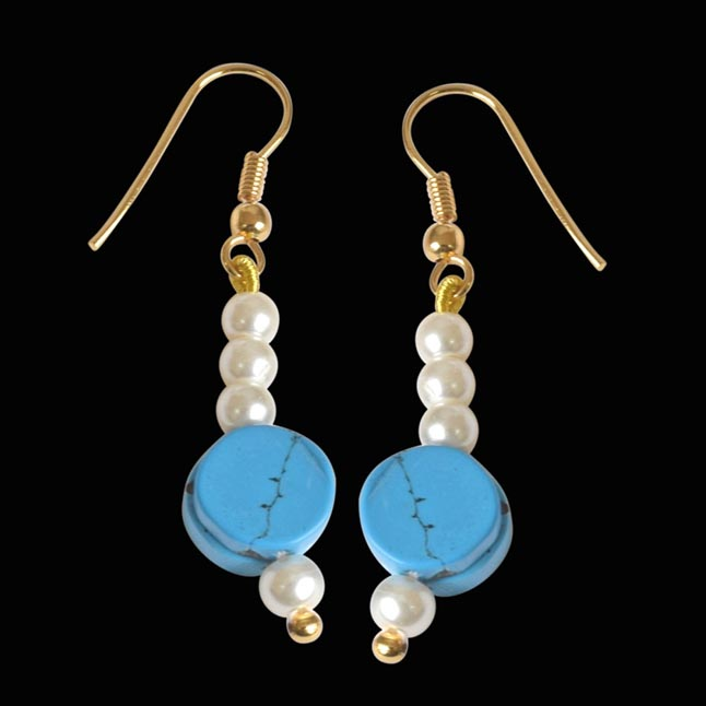 Gold Plated Hanging Earring with Blue Turquoise and White Shell Pearl for Women (SE258)