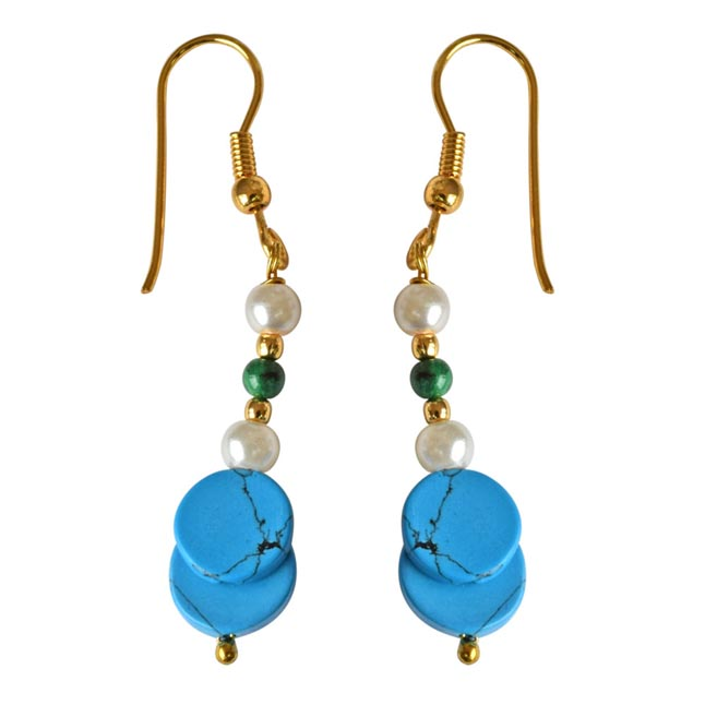 Gold Plated Hanging Earring with Pearl, Malachite and Turquoise Gemstones for Women (SE259)