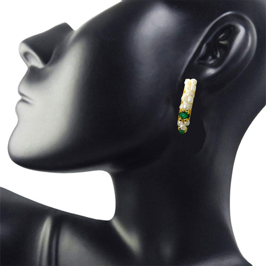Beautiful Woman - Real Rice Pearl & Green Onyx Twisted Bali Style Earrings for Women (SE26)