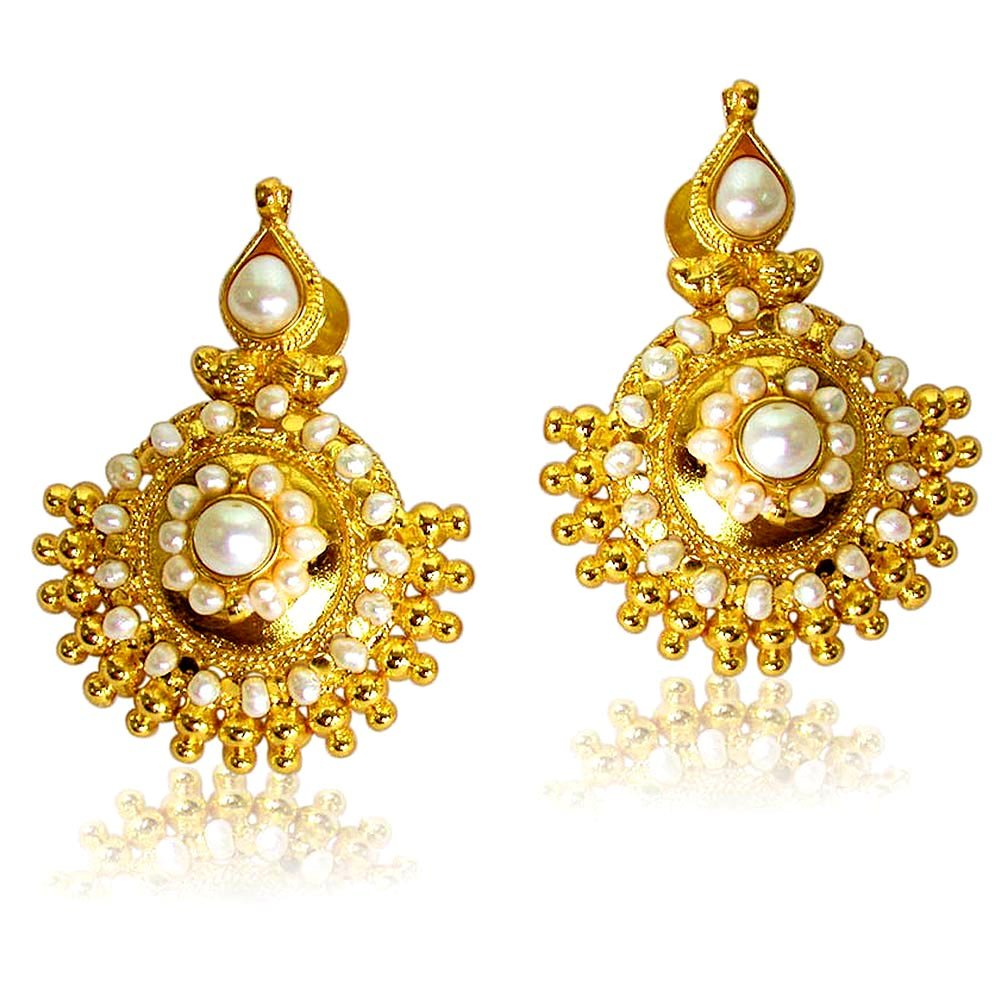 Vibrant Beauty - Freshwater Pearl & Gold Plated Temple Design Earrings for Women (SE27)