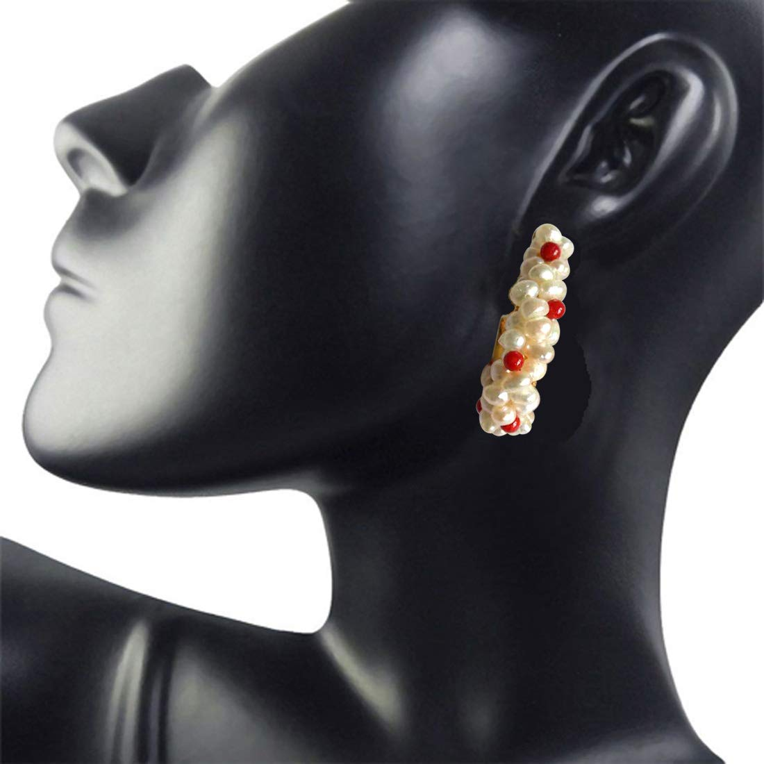 Charming Bali - Real Freshwater Pearl & Red Coral Twisted Bali Style Earrings for Women (SE28)