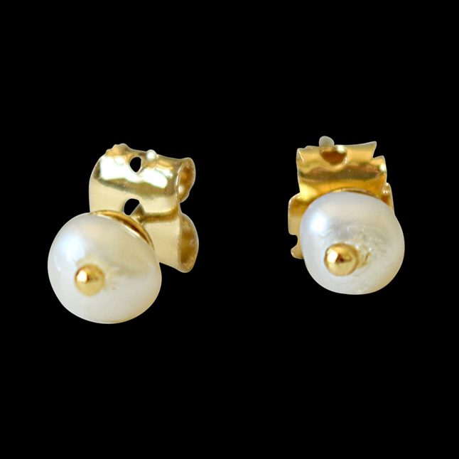 Real Freshwater Small Pearl & Gold Plated Stud Earrings