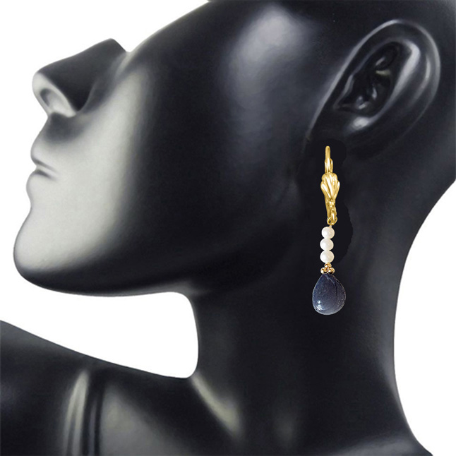 Real Drop Blue Sapphire, Freshwater Pearl and Gold Plated Flower Shaped Hanging Earrings for Women (SE323)