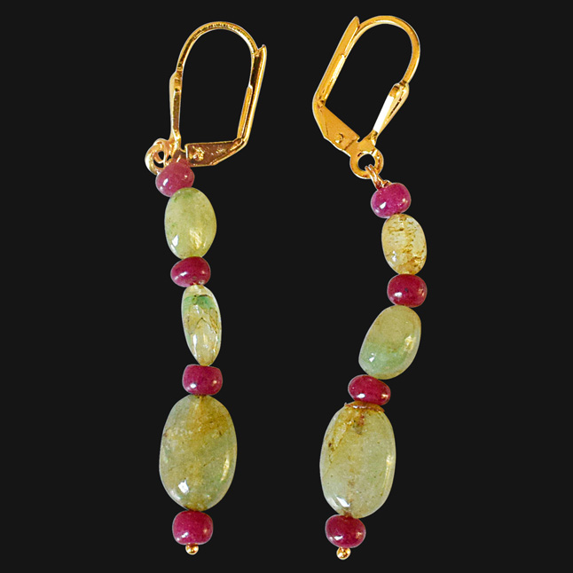 Real Oval Emerald and Ruby Beads Gold Plated Flower Shaped Hanging Earrings for Women (SE324)