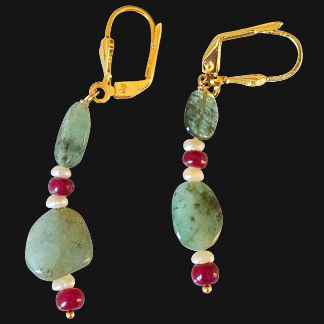 Real Oval Emerald, Ruby Beads and Freshwater Pearl Gold Plated Flower Shaped Hanging Earrings for Women (SE325)