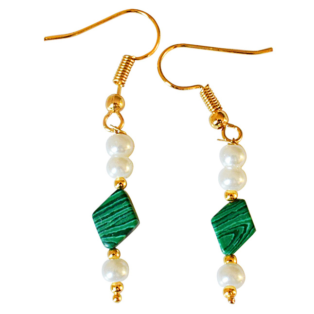 Kite Shaped Malachite and Shell Pearl Hanging Earrings (SE326