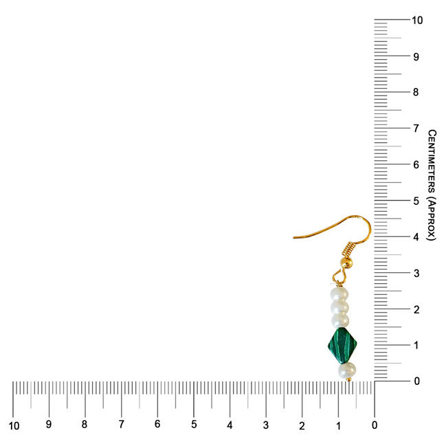 Kite Shaped Malachite and Shell Pearl Hanging Earrings (SE327)