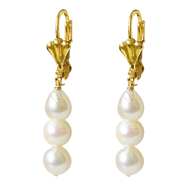 Real Natural Cultured Pearl and Flower Shaped Gold Plated Hanging Earrings for Women (SE328)