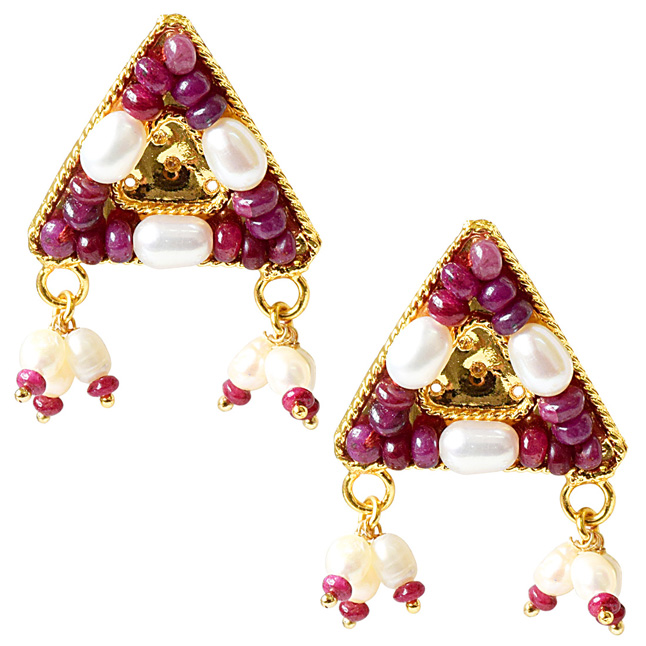 Geometrical Shaped Real Ruby Beads and Rice Pearl Gold Plated Earrings for Women (SE329)