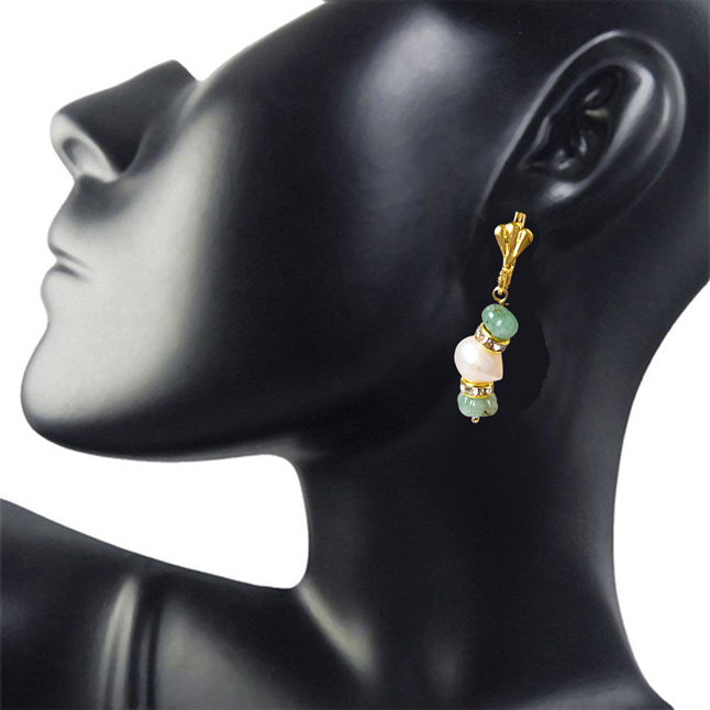 Real Green Engraved Emerald Beads and Freshwater Pearl Hanging Earrings for Women (SE330)