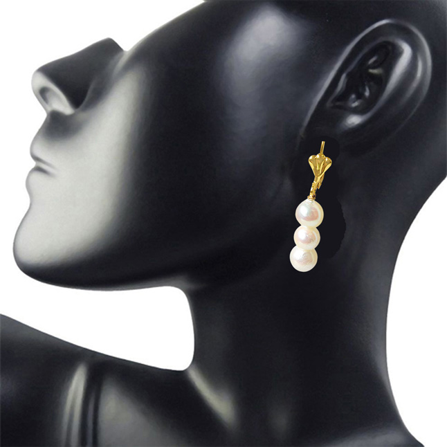 Real Natural Cultured Pearl and Flower Shaped Gold Plated Hanging Earrings for Women (SE331)