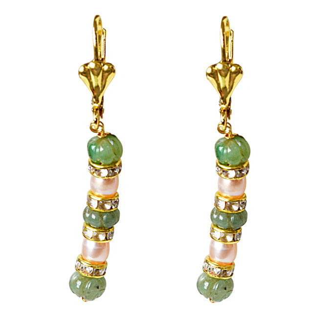 Real Green Engraved Emerald Beads and Peach Freshwater Pearl Hanging Earrings for Women (SE332)