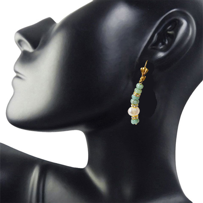 Real Green Engraved Emerald Beads and Big Freshwater Pearl Hanging Earrings for Women (SE333)