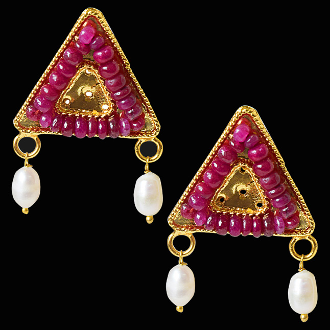 Geometrical Shaped Real Ruby Beads and Rice Pearl Gold Plated Earrings for Women (SE334)