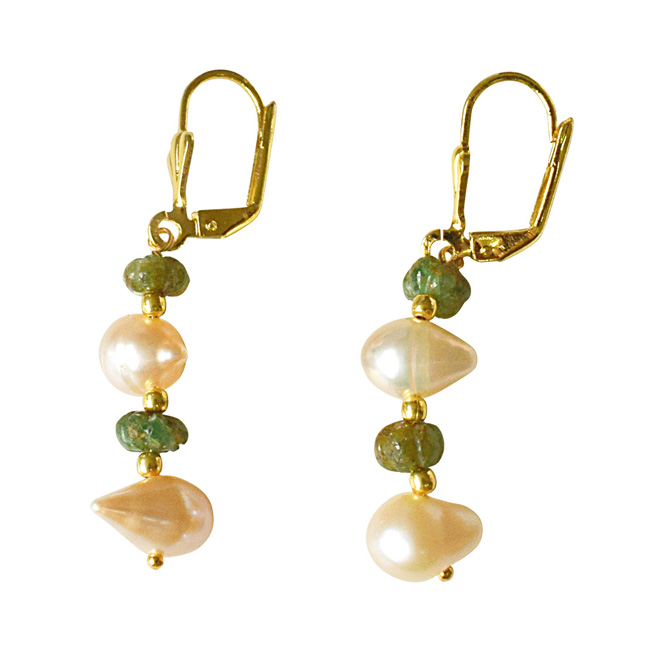 Real Green Engraved Emerald Beads and Potato Shaped Freshwater Pearl Hanging Earrings for Women (SE335)