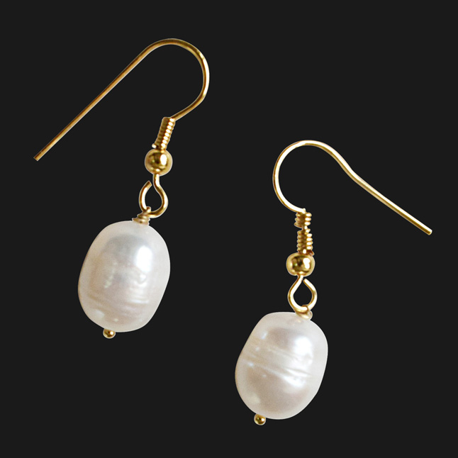 Real Elongated Freshwater Pearl & Gold Plated Wire Style Hanging Earrings
