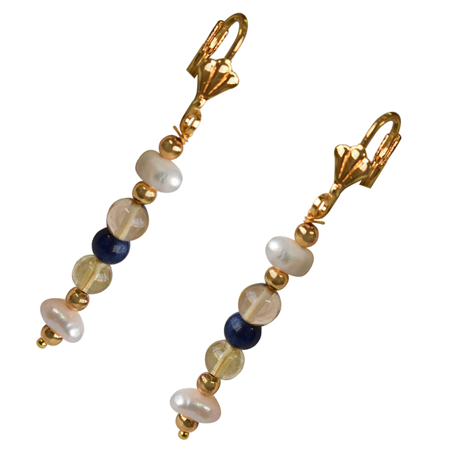 Blue Lapiz, Citrin, Natural Freshwater Pearls and Gold Plated Bead Hanging Earrings for Women SE338