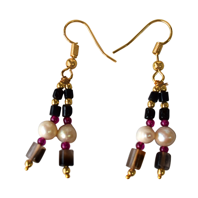 Black Onyx, Red Garnet, Gold Plated Beads and Freshwater Pearls Hanging Earrings for Women (SE339)