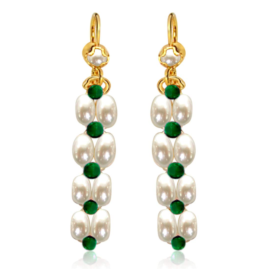 Real Rice Pearl & Green Onyx Beads Hanging Earrings for Women (SE34)