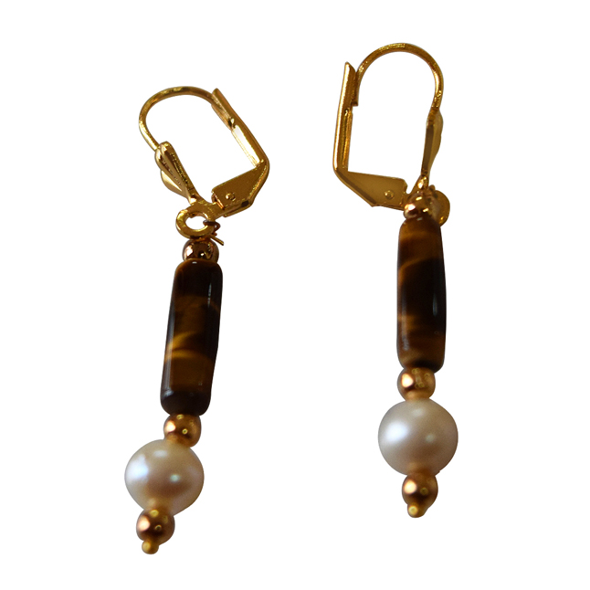 Tiger Eye and Natural Freshwater Pearls with Gold Plated Beads Hanging Earring for Women (SE340)