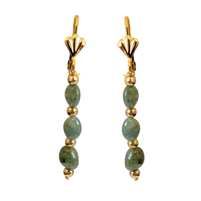 Real Natural Oval Emerald & gold plated Beads Earring (SE341)