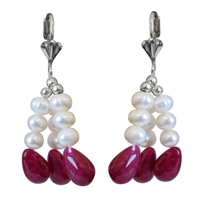 3 Lines Real Ruby Drops & Freshwater Pearl Earrings for Women (SE343)