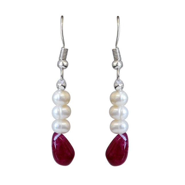 Real Ruby Drop & Freshwater Pearl Earrings for Women (SE345)