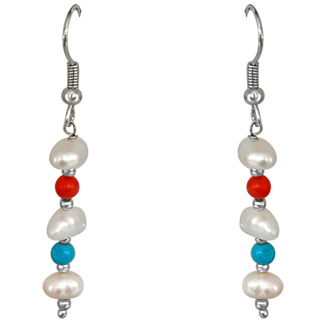 Real Coral, Turquoise, Freshwater Pearl & Silver Plated Beads Earring for Women (SE347)