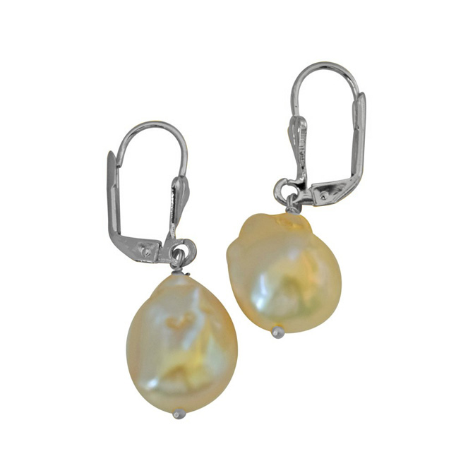 Unique Shaped Real Natural Peach Coloured Baroque Pearl & Silver Plated Hanging Earring SE348