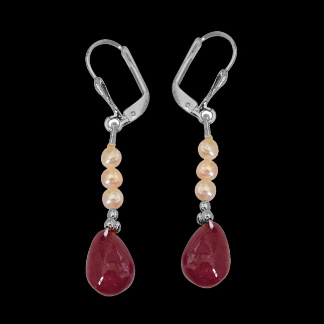 Real Ruby Drop, Freshwater Pearl & Silver Plated Beads Earrings for Women (SE349)